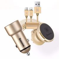 Bộ phụ kiện di động cao cấp trên xe hơi Baseus Kit (Sạc + Giá đỡ nam châm + cáp 2 đầu Lightning/Micro USB)