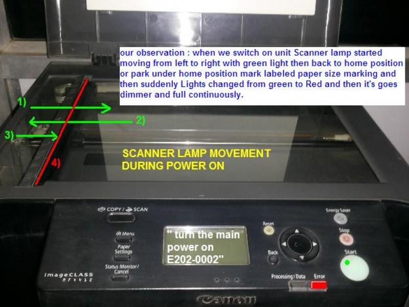 """Máy in Laser đa chức năng Canon MF4450 MF4550 MF4780 MF4870dn MF4890dw báo lỗi """"Bật nguồn chính """" E202"""